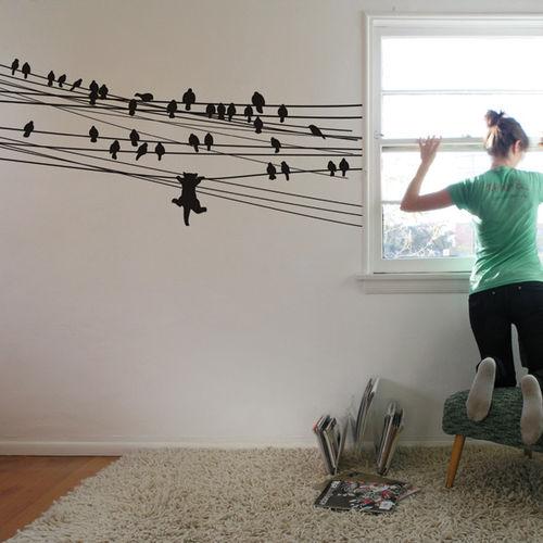 Gato e passarinhos aplicado